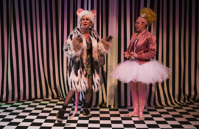 Jo Freer as Dora and-Daisy Ann Fletcher as Alice in Alice in Weegieland. Pic by John Johnston