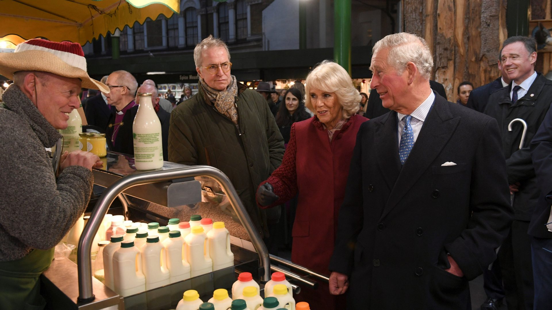 Charles and Camilla meet stall-holders and members of the local community in Borough Market