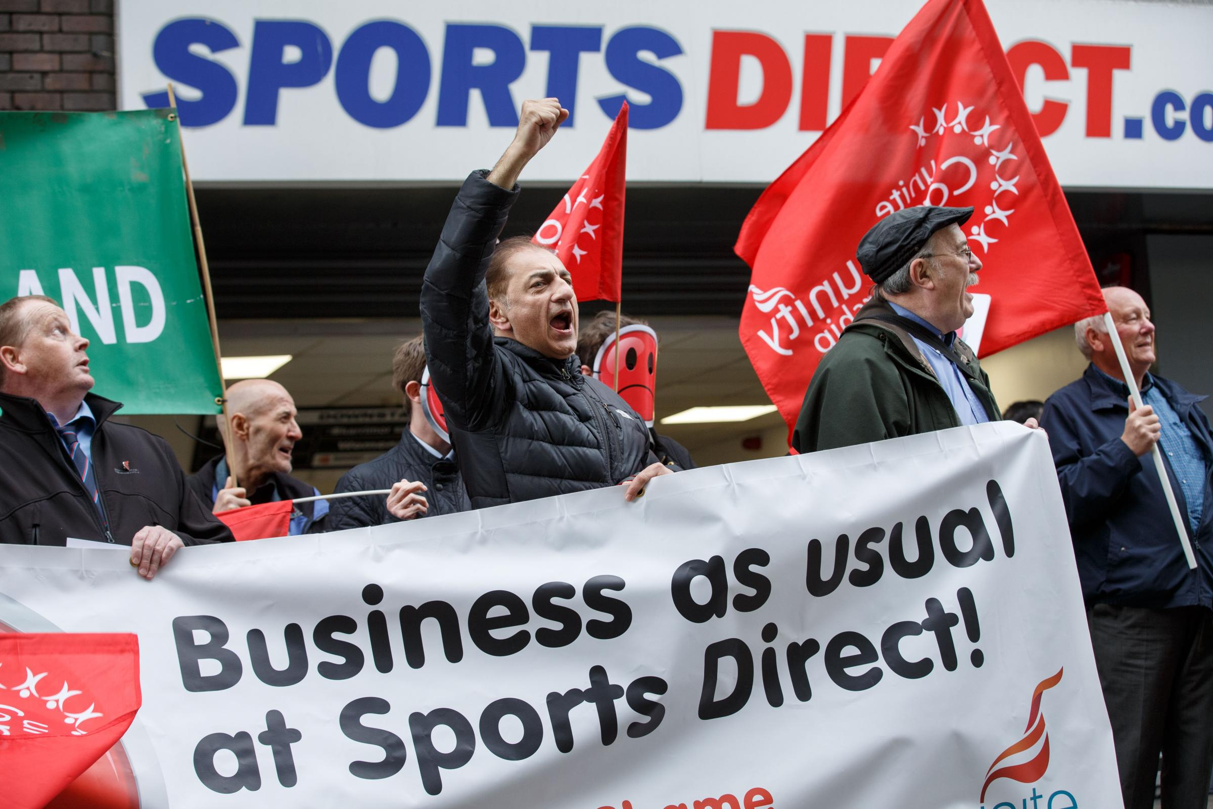 Demonstration outside Sports Direct