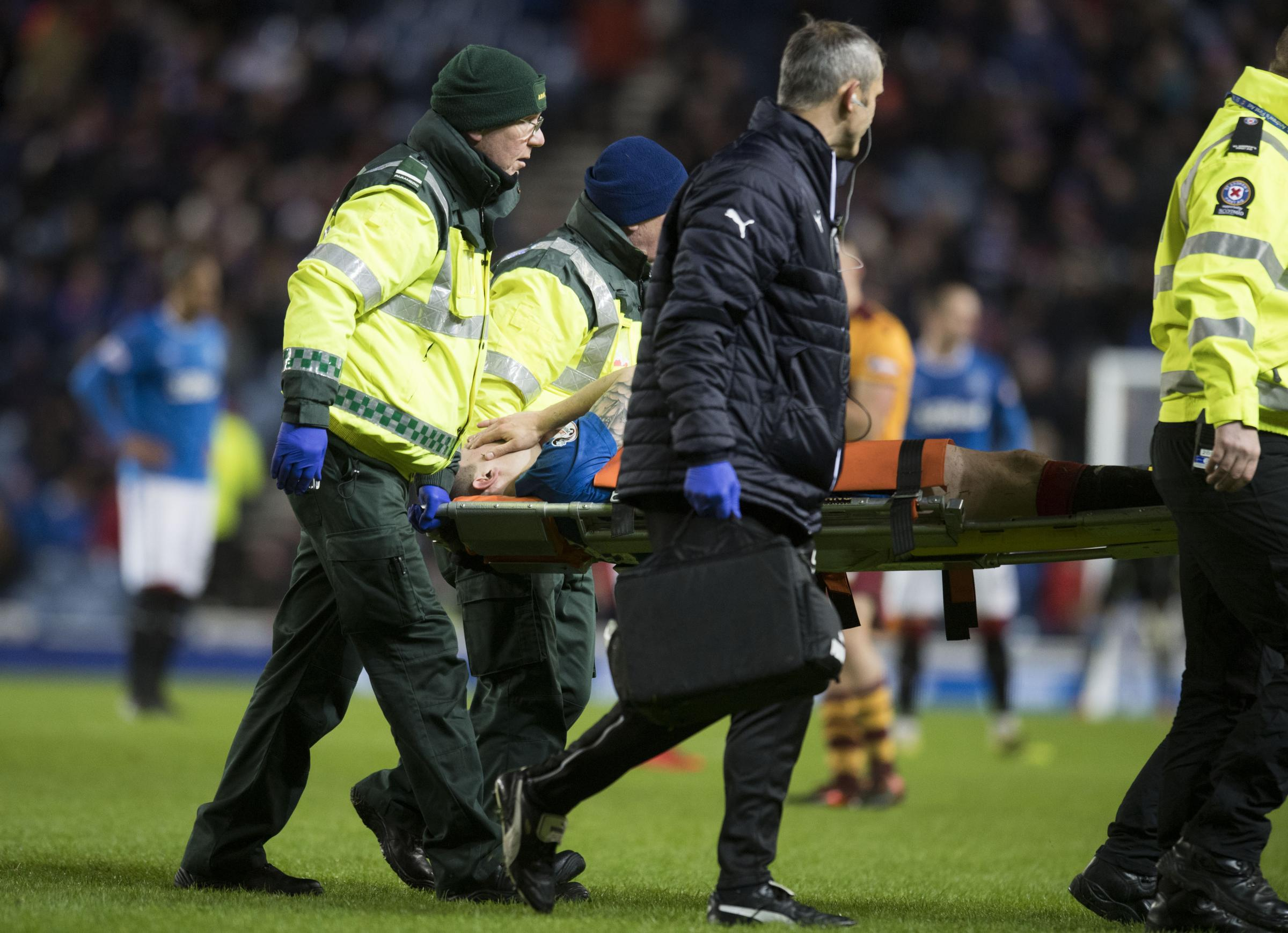 Ryan Jack is stretchered off