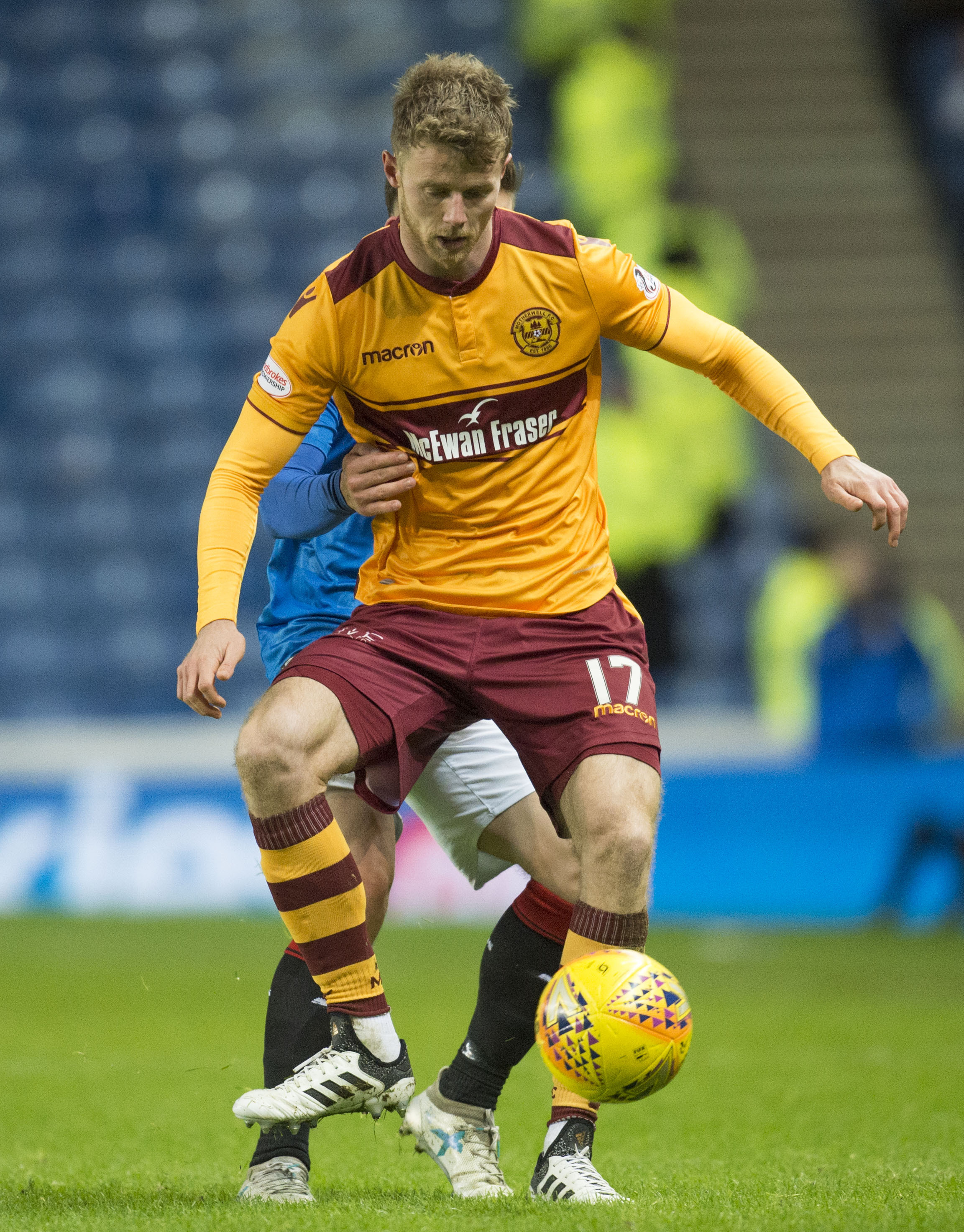 27/12/17 LADBROKES PREMIERSHIP.  RANGERS v MOTHERWELL (2-0).  IBROX - GLASGOW. Motherwell's Alex Fisher in action..