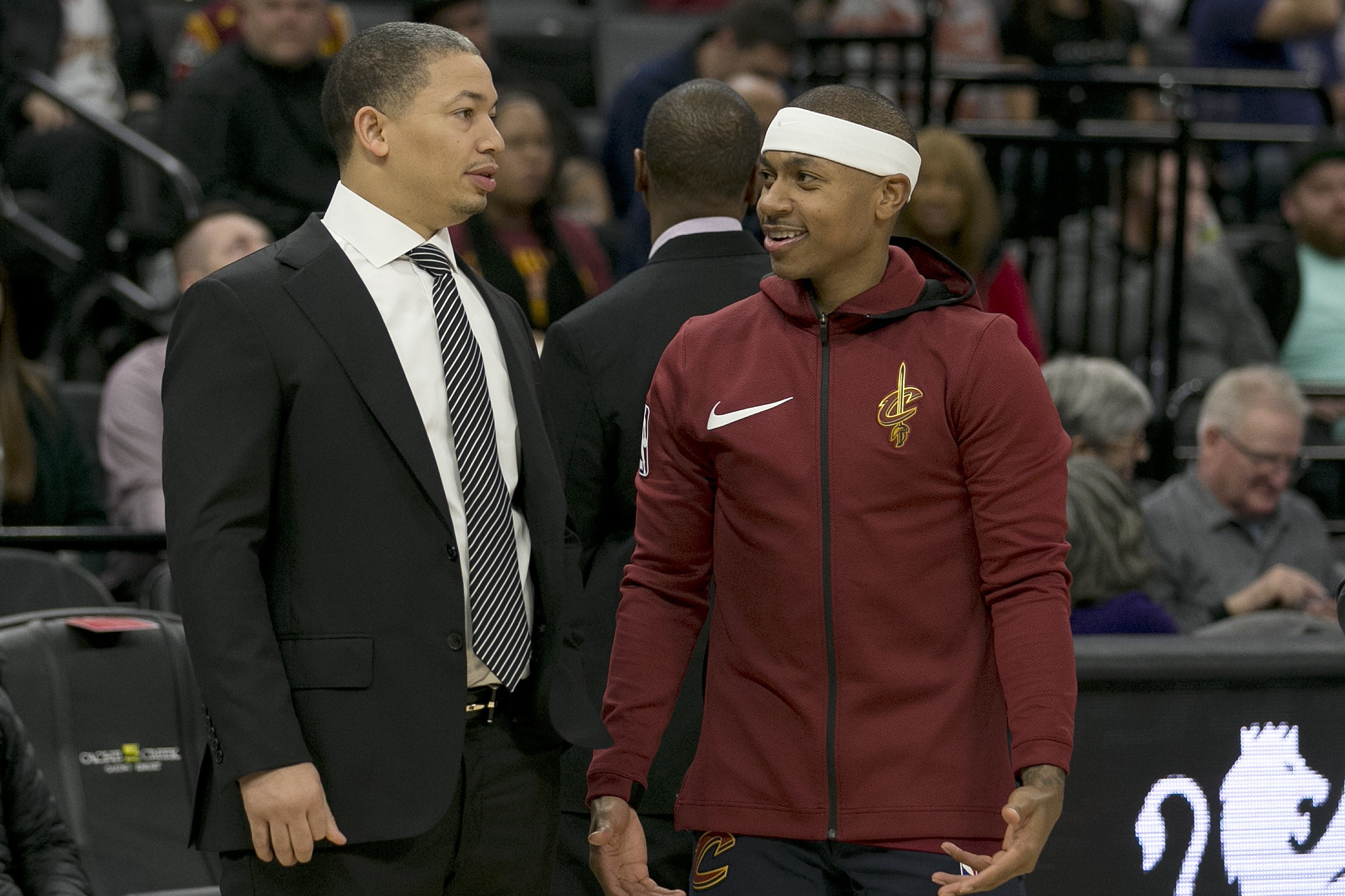 Isaiah Thomas, right, made his debut for the Cleveland Cavaliers in the win over the Portland Trail Blazers (Rich Pedroncelli/AP/PA)