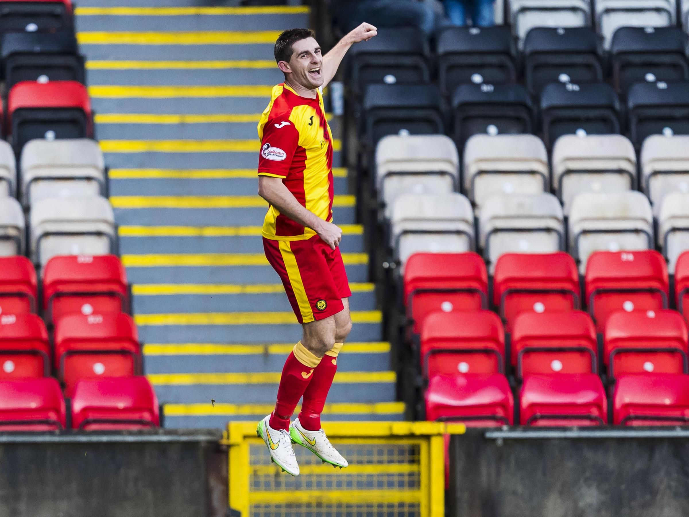 Kris Doolan celebrates his latest goal for Partick Thistle in the 2-0 win over Ross County recently.
