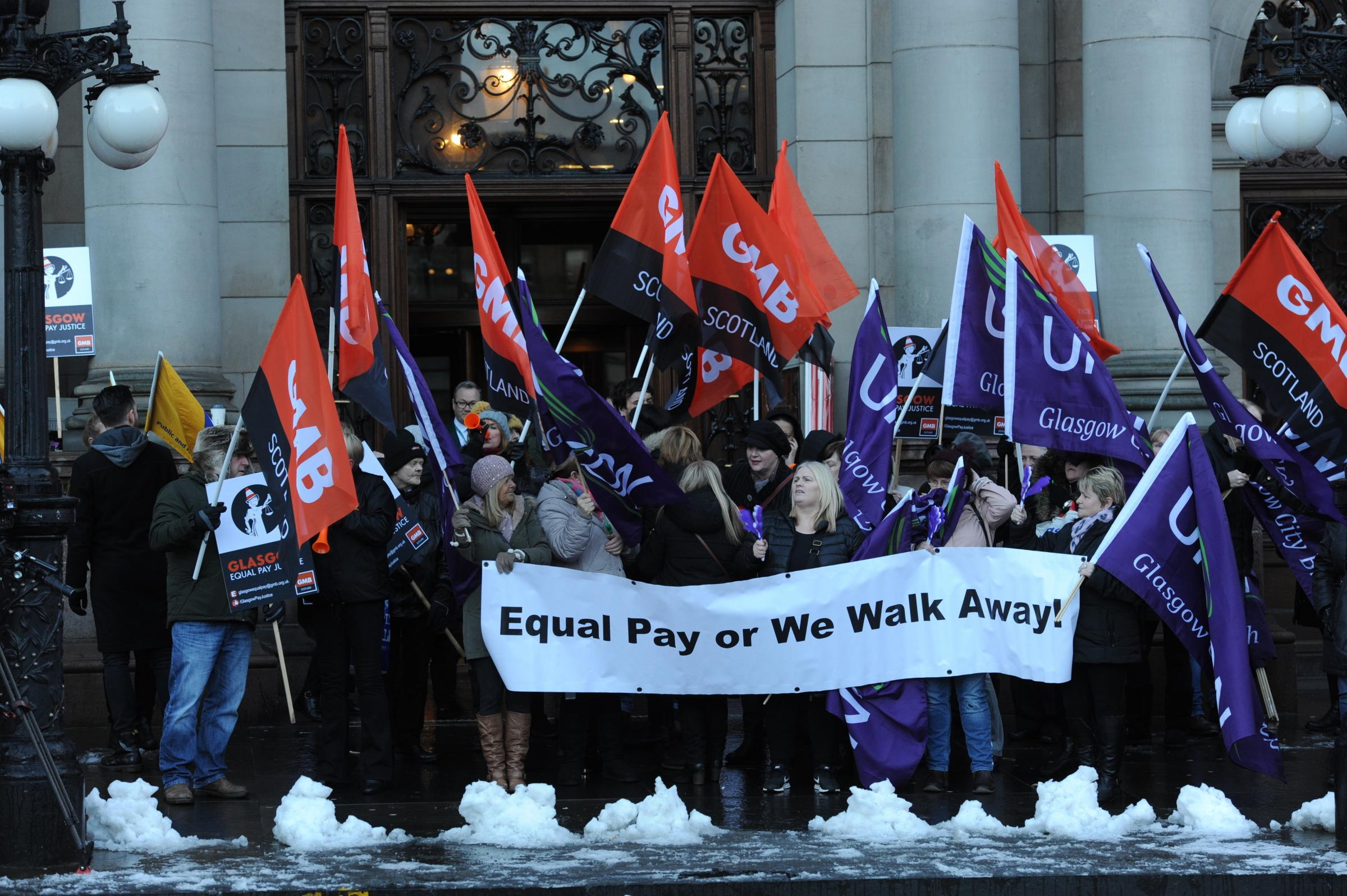 Equal Pay Demonstration in front of Glasgow City Chambers  Picture: Kirsty Anderson