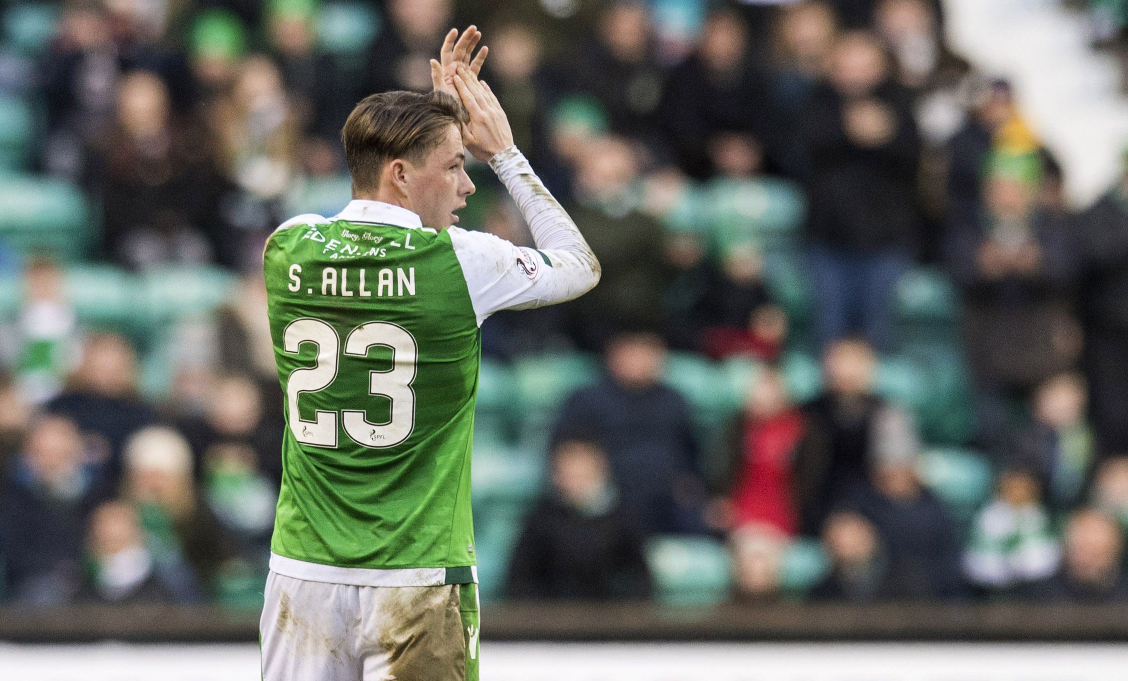 Scott Allan applauds the Hibs fans as he leaves the pitch on Saturday.