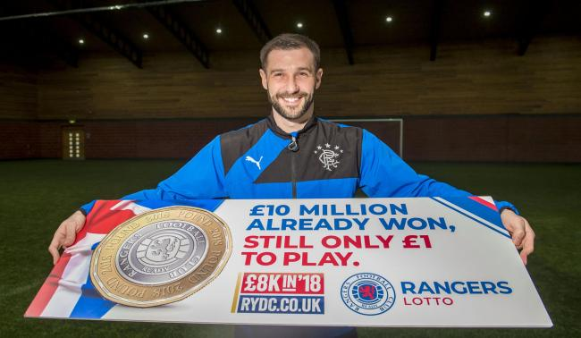 Kevin Thomson is pictured promoting the Rangers Youth Development Company and their £8k in 2018 Lotto campaign.