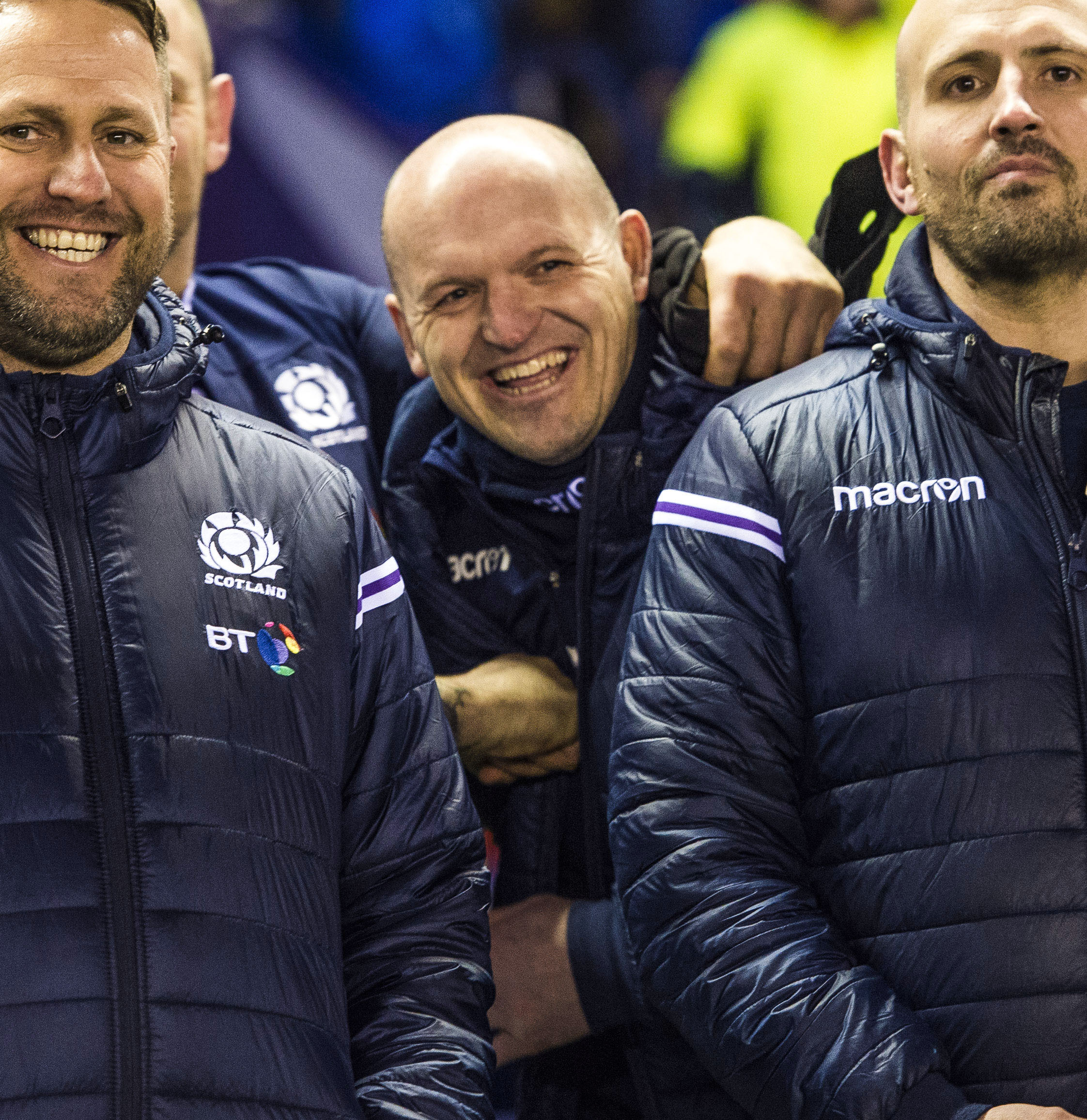Scotland head coach Gregor Townsend is all smiles at full time