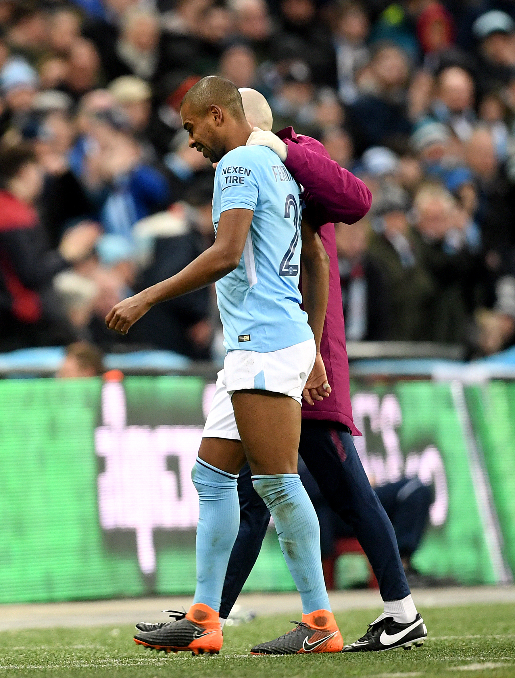 Fernandinho went off injured after 52 minutes of Sunday's 3-0 victory over the Gunners.