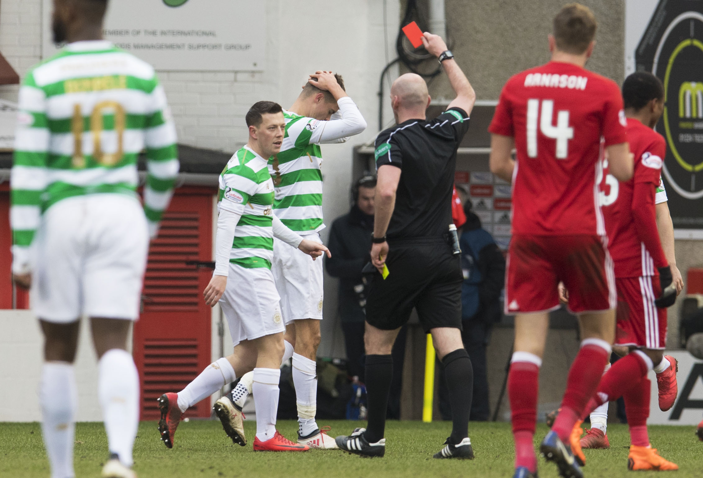 The 31-year-old Sweden right-back was sent off in the 2-0 Ladbrokes Premiership win over Aberdeen