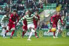 Celtic's Moussa Dembele scores a penalty to make it 2-0 against Morton in the Scottish Cup quarter final