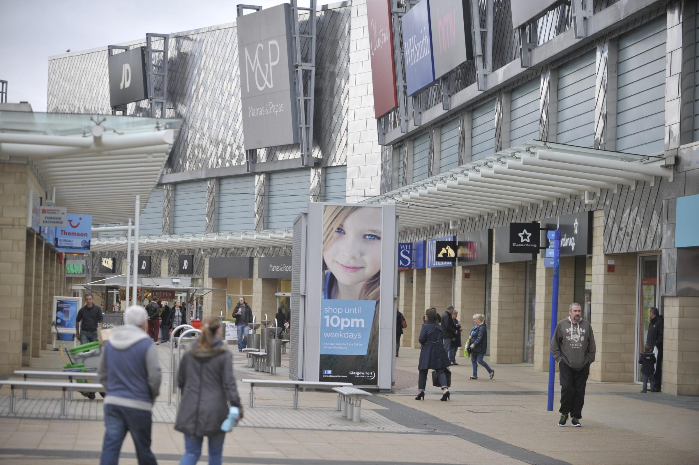 GLASGOW, SCOTLAND - OCTOBER 20: general view of the Glasgow Fort shopping Centre on October 20, 2014 in Glasgow, Scotland. The centre is celebrating it's 10th Birthday (Photo by Jamie Simpson/Herald & Times) - JS.