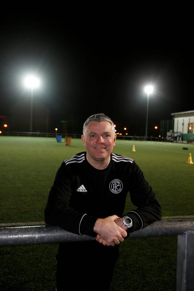 Petershill manager Willie Patterson  at his home team ground.. He  and No 2 Paul Kelly have compiled a Dream Team. .Note :Paul was not there as he was at the hospital for his appendix. ....Picture Martin Shields.Herald & Times Ltd..
