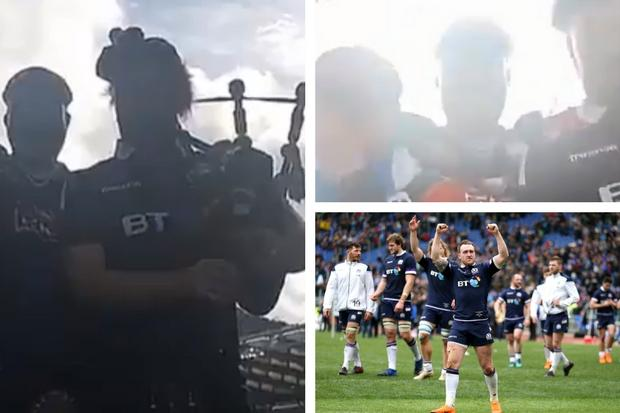 'F*** the Pope': Shocking video shows kilted rugby fans playing 'The Sash' on bagpipes
