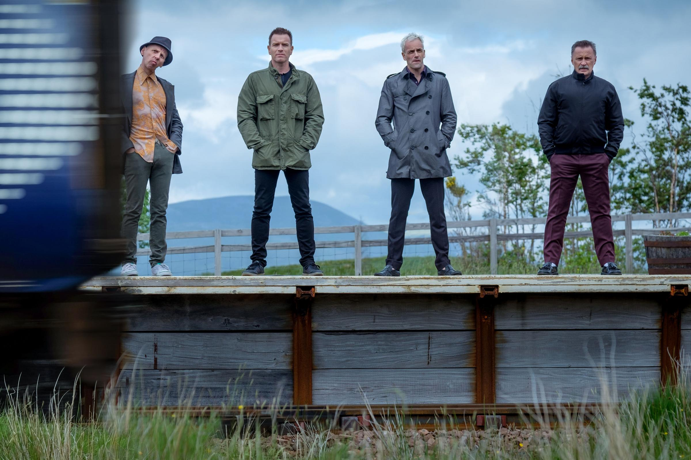 Sony Pictures Releasing (UK) undated handout photo of (left to right)  Ewen Bremner (Spud), Ewan McGregor (Renton), Jonny Lee Miller (Sickboy) and Robert Carlyle (Begbie) from the film Trainspotting 2. PRESS ASSOCIATION Photo. Issue date: Monday July 25,