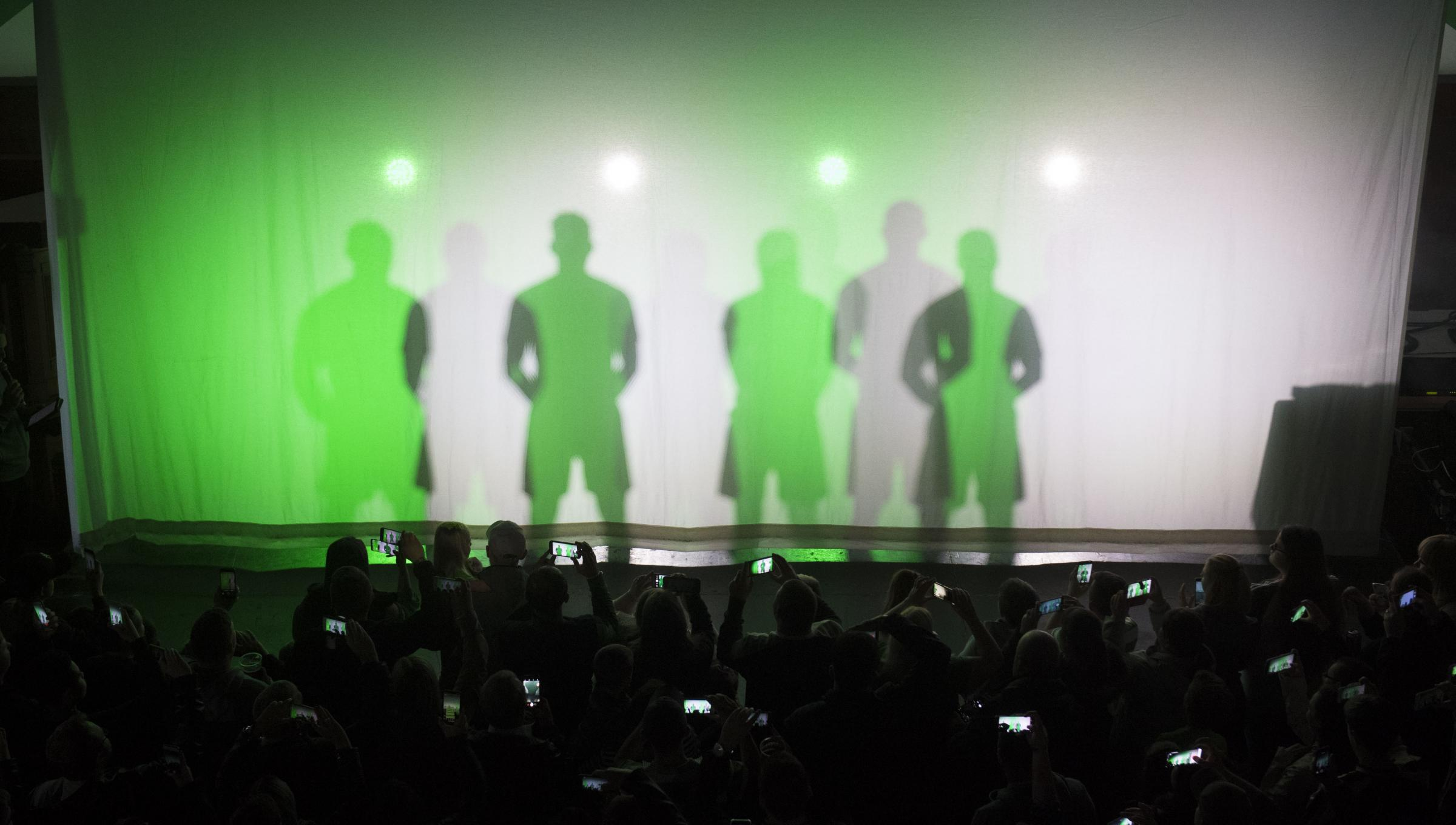 23/04/18 . ST LUKE'S - GLASGOW . Celtic launch their new home kit for season 2018/2019 with an event at St Luke's, in Glasgow. The players appear behind a curtain at first before the reveal.