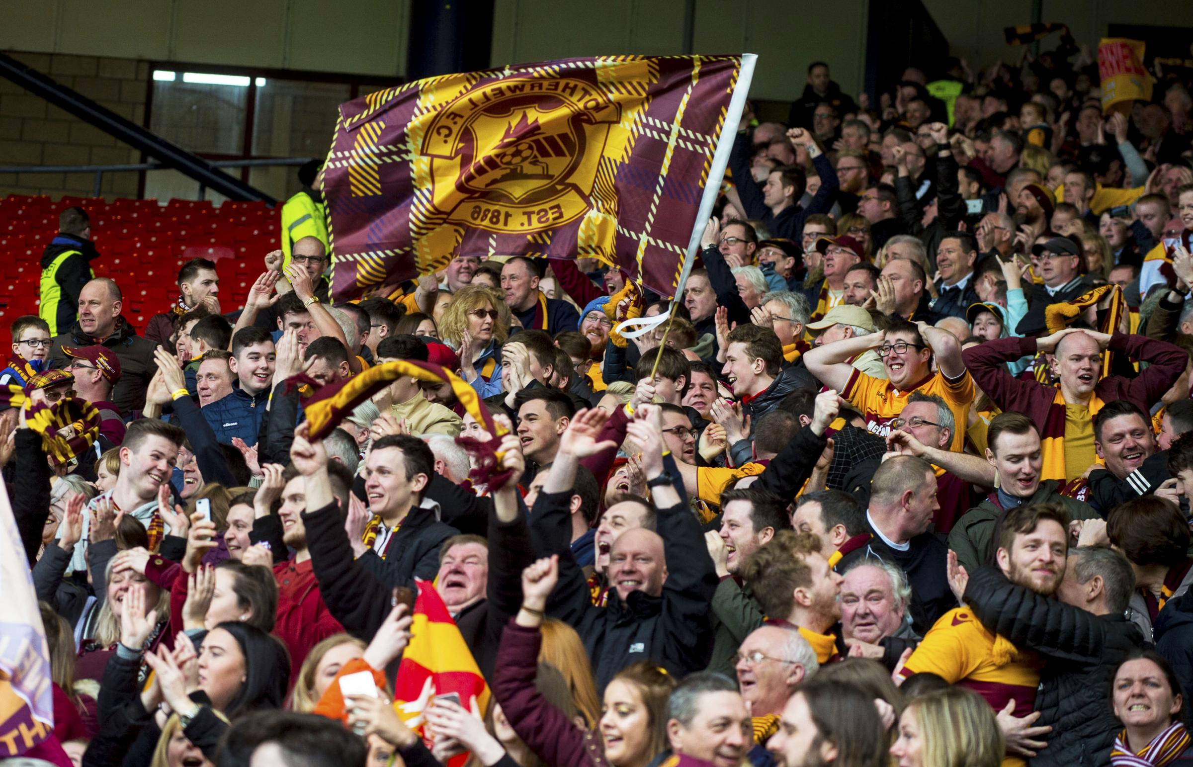 Motherwell fans in the stands.