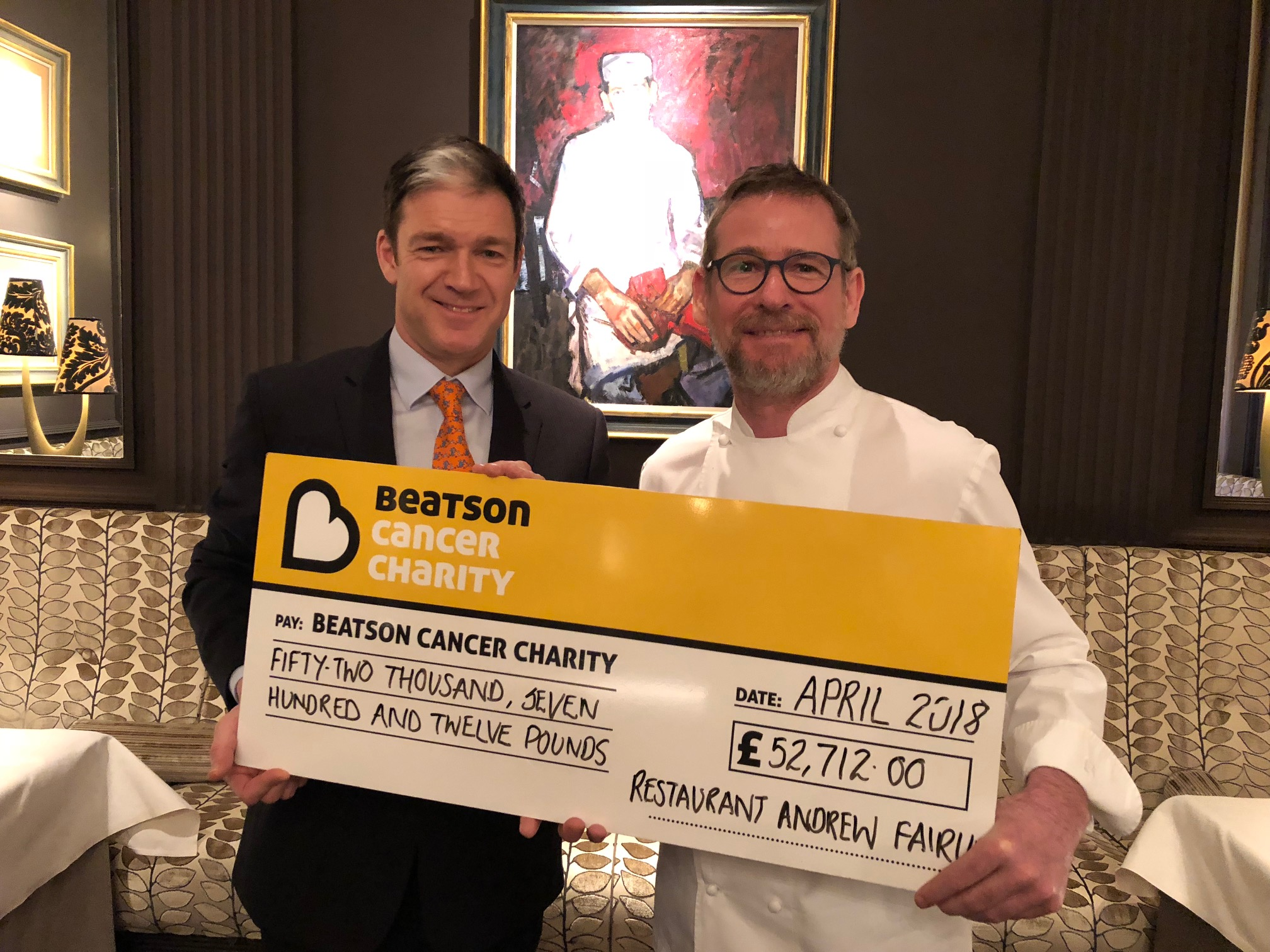 Chef Andrew Fairlie with Graham Souter, Chief Executive of the Beatson Cancer Charity