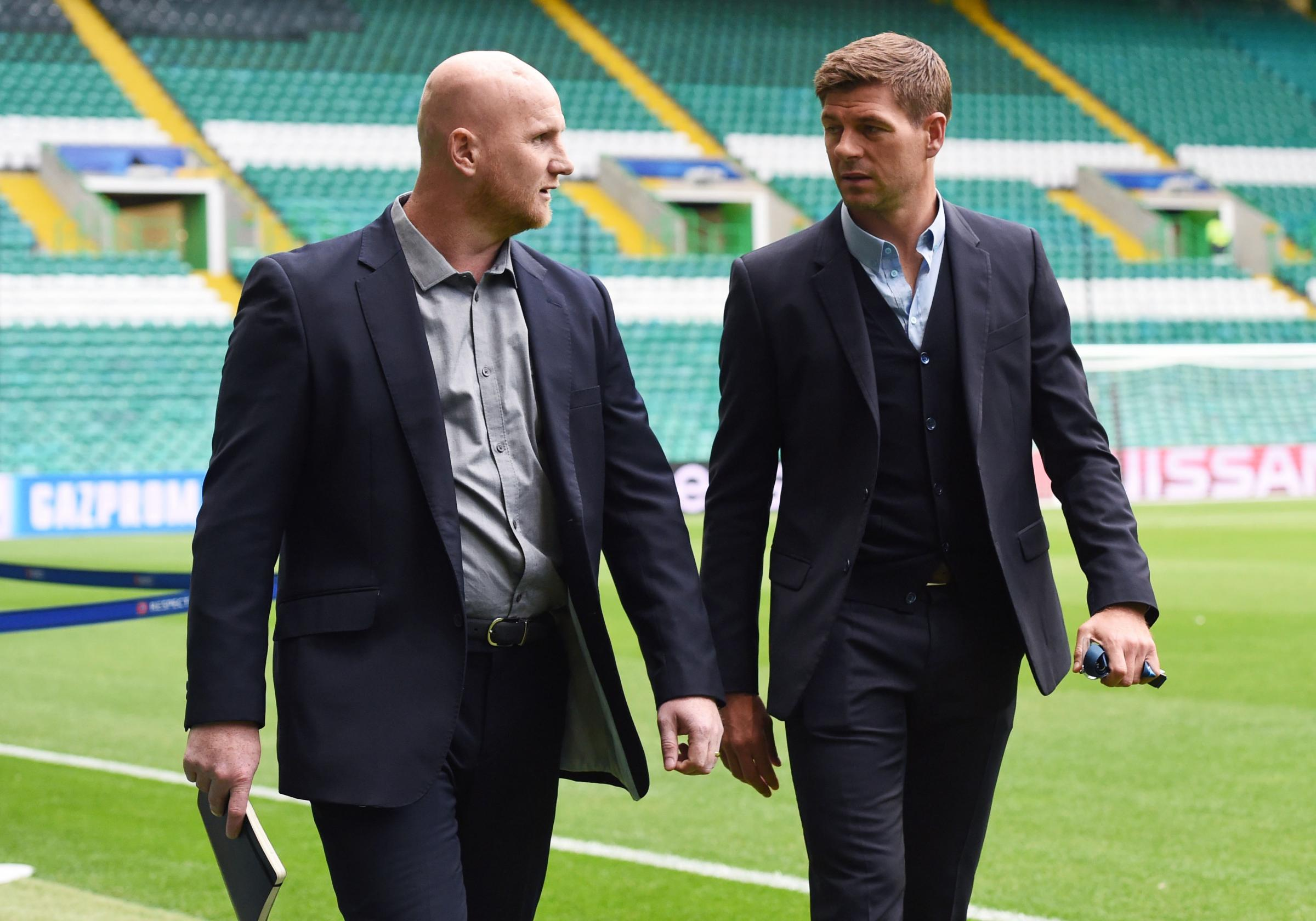 Former Liverpool player Steven Gerrard (right) and former Celtic player John Hartson