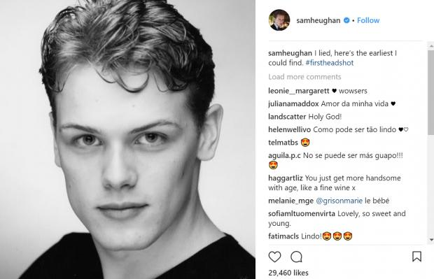 Outlander star Sam Heughan sends fans wild with baby-faced