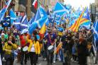 All Under One Banner march for independence from kelvingrove Park to Glasgow Green. The march on West George street.....   Photograph by Colin Mearns..5 May 2018...