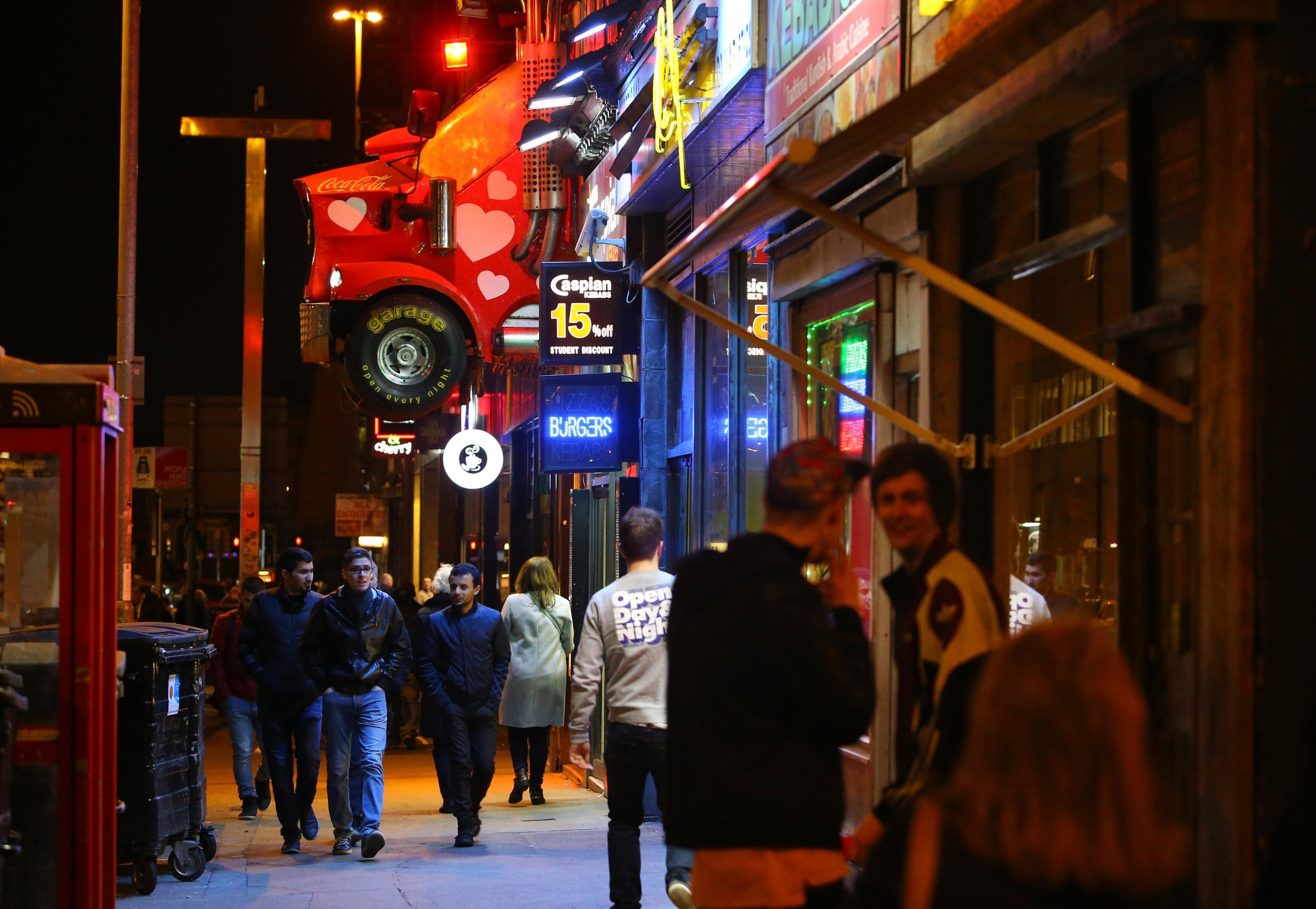 Late night on Sauchiehall Street outside the Garage club  Picture: Colin Mearns