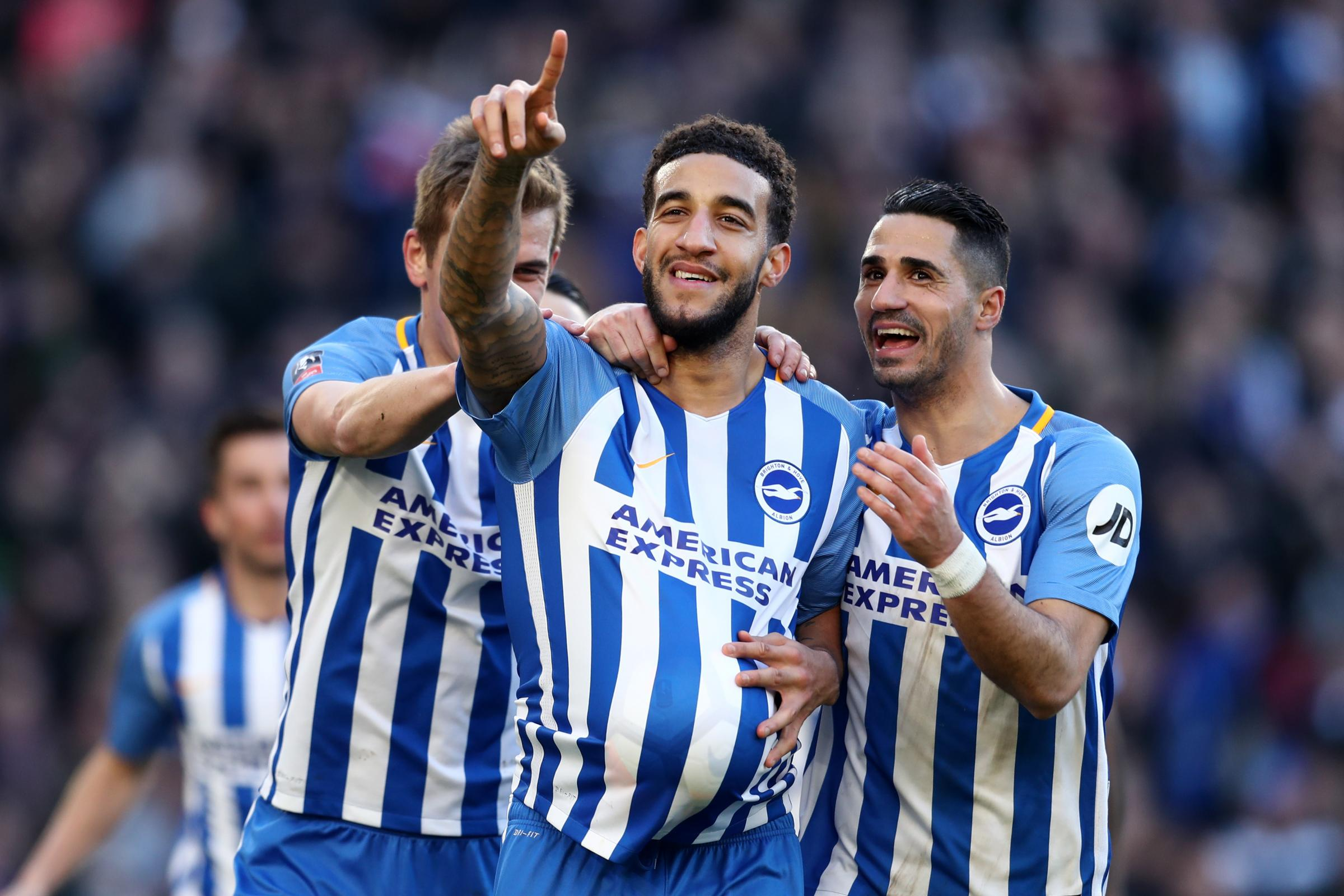 Goldson celebrates after scoring against Coventry in the FA Cup (photo Getty Images)