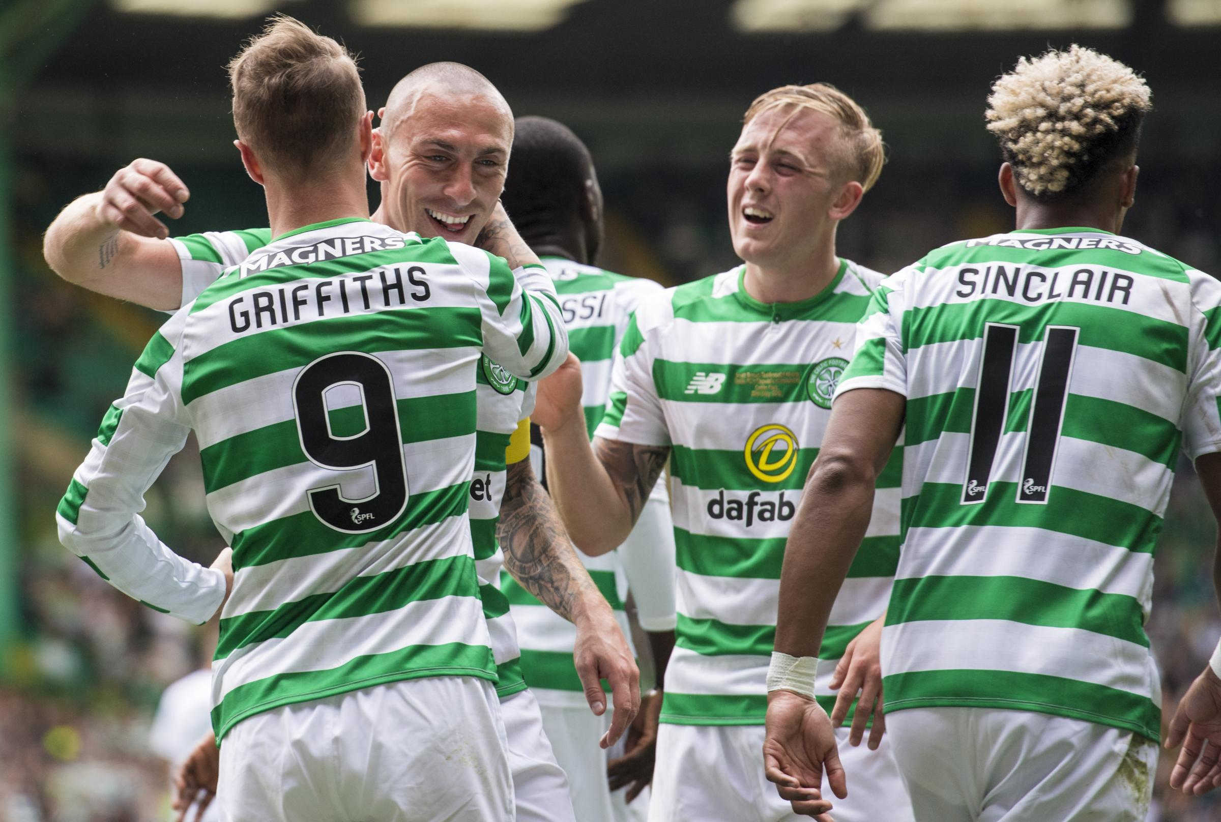 Scott Brown celebrates with Leigh Griffiths after his goal against Ireland