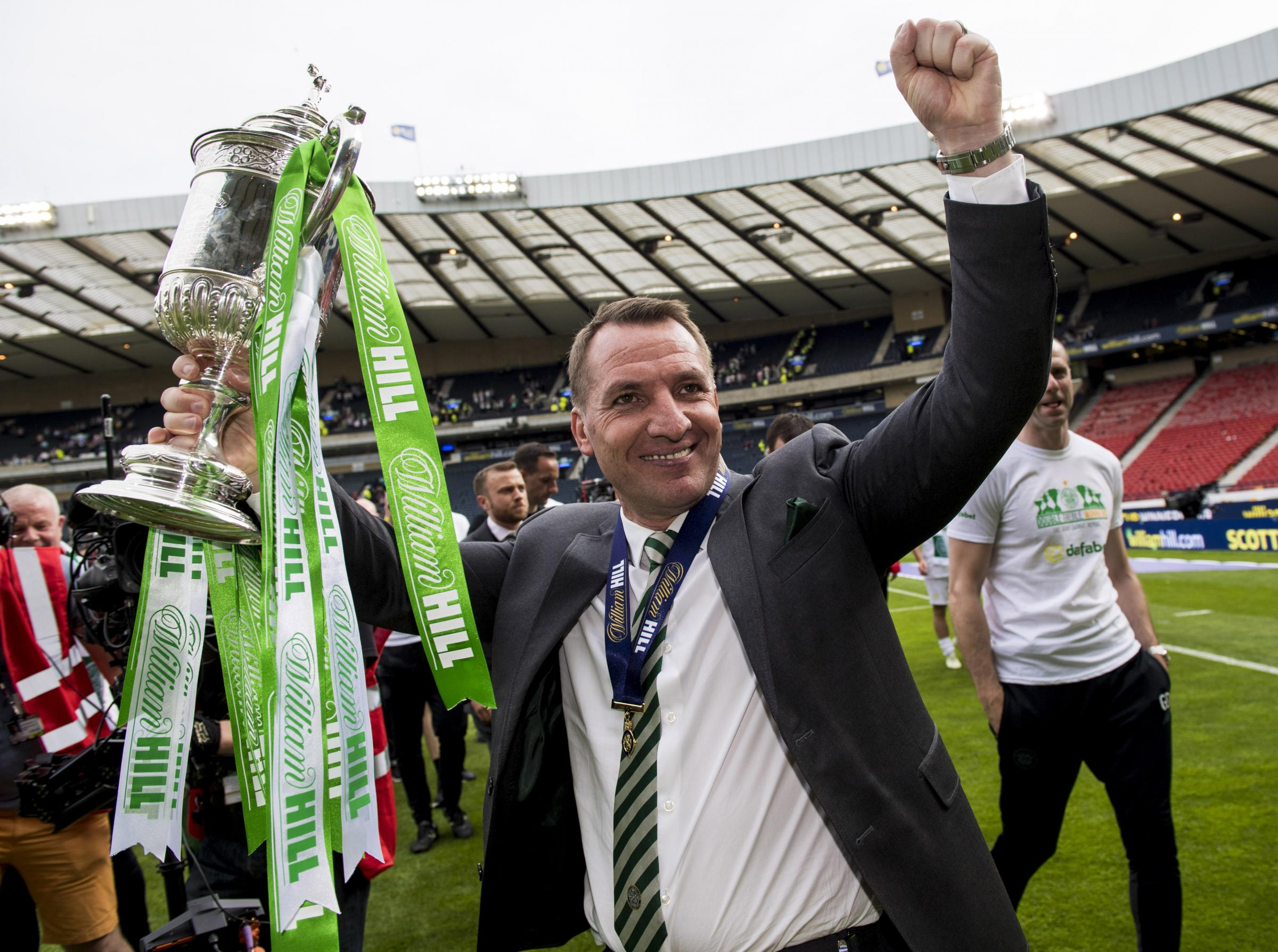 19/05/18 WILLIAM HILL SCOTTISH CUP FINAL. MOTHERWELL v CELTIC. HAMPDEN PARK - GLASGOW . Celtic manager Brendan Rodgers celebrates winning the William Hill Scottish Cup . . ROTA IMAGE.