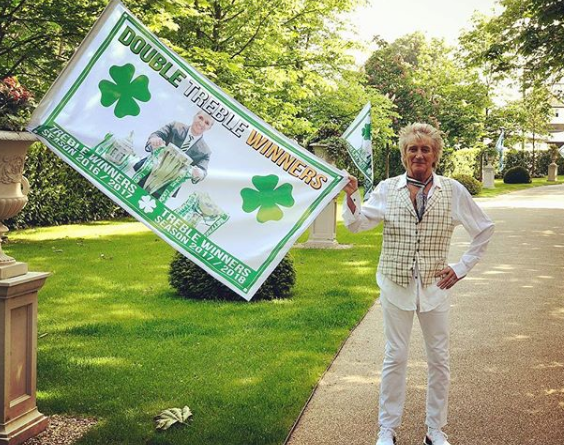 Rod Stewart gives his garden a Celtic makeover with double treble flags
