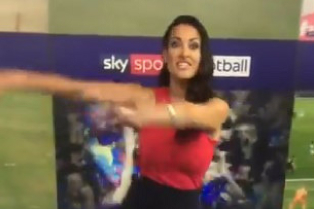 Watch Kirsty Gallacher do flossing dance trend for colleague JIm White on Sky Sports