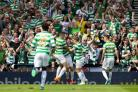 James Forrest enjoys the celebrations on Saturday afternoon at Hampden