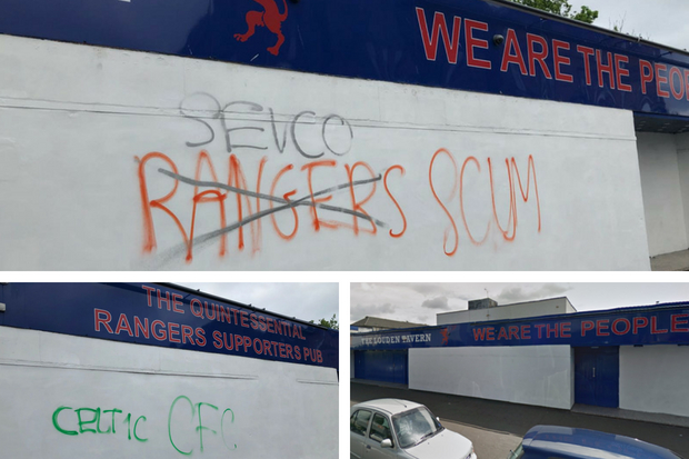 Popular Rangers pub near Ibrox claims Celtic fans behind 'pathetic' vandalism on walls