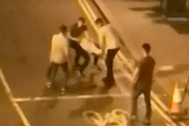 Hilarious footage of drunk thugs brawling branded wimpiest street fight ever