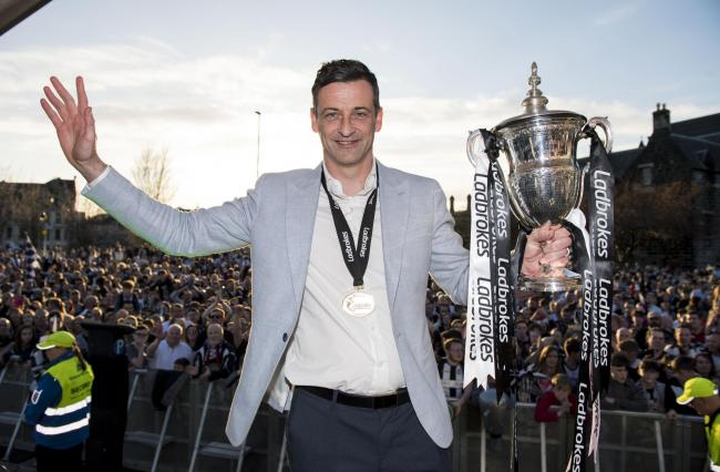 21/04/18. PAISLEY. St Mirren manager Jack Ross celebrates during the title party.