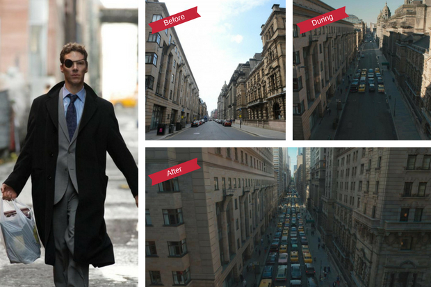 Benedict Cumberbatch films in Glasgow (left) and the transformation of Cochrane Street