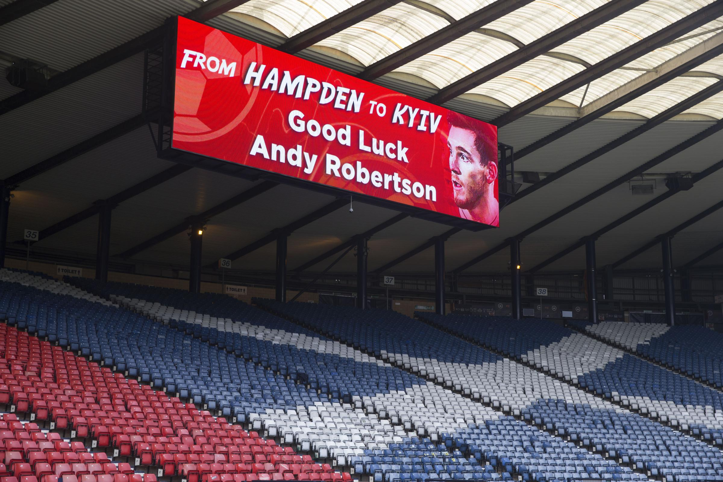 Big screens show good luck message for Andy Robertson and champions league final. PIcture: Jeff Holmes