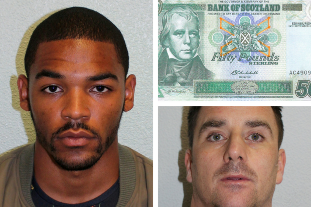 Two counterfeiters used fake businessmen to swop fake Scottish £50 and £100 notes for English ones