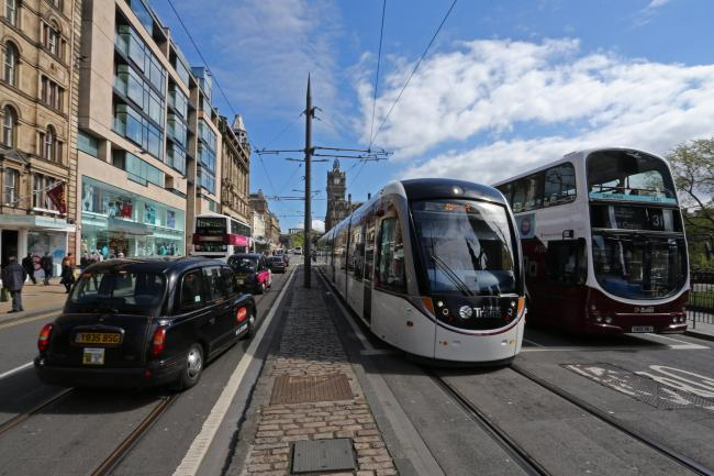 Emergency services rush to scene after tram derails in Edinburgh
