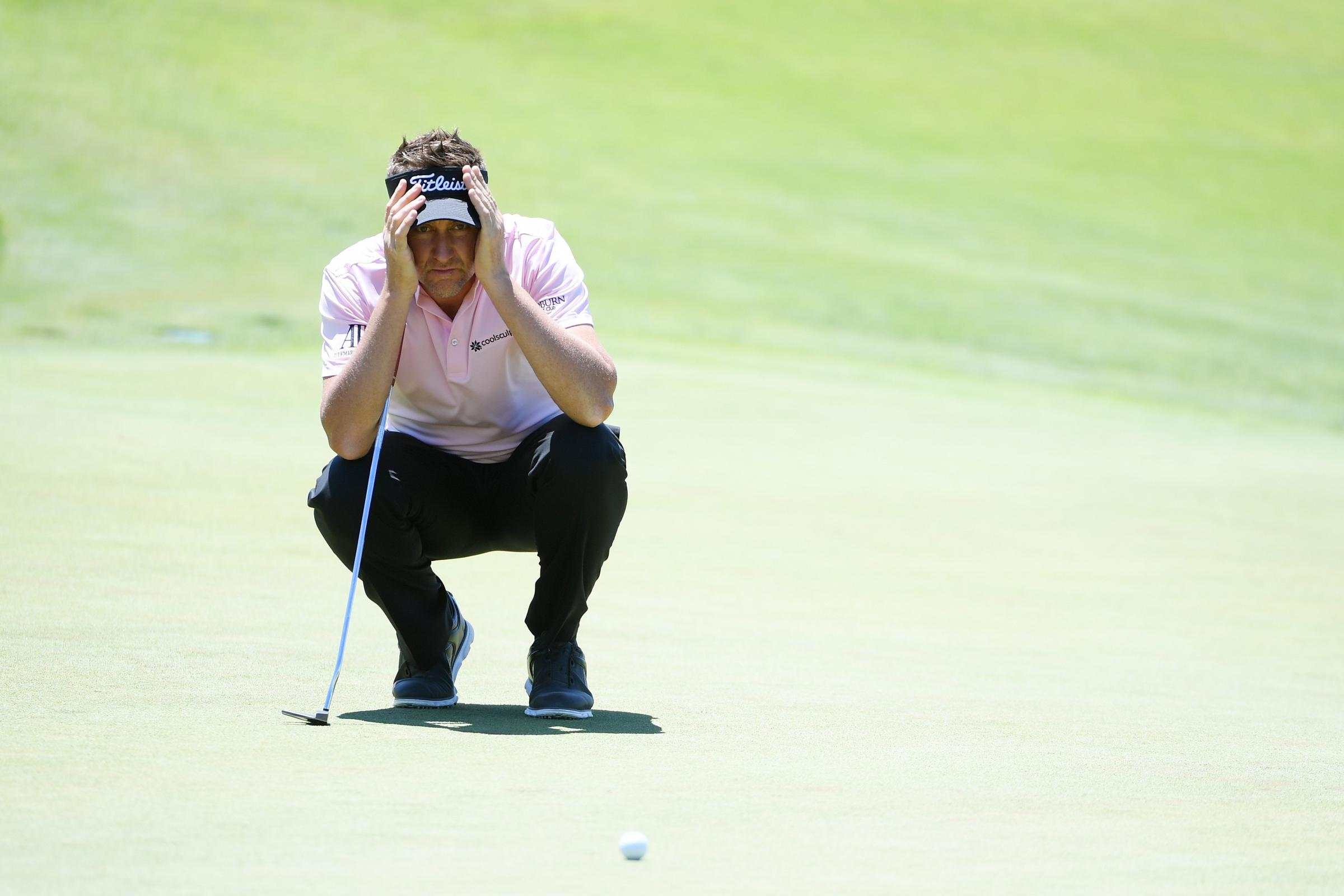 Eye on the ball: Ian Poulter shares the lead at the US Open (Picture: Getty)