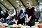 pupils learning CPR in Denmark where cardiac arrest survival rates have tripled