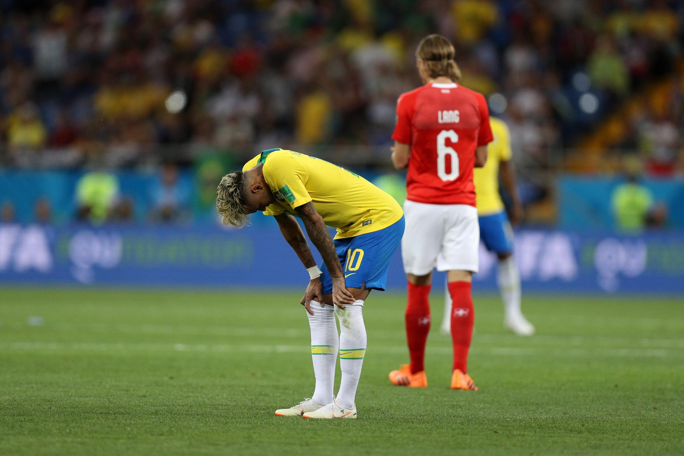ROSTOV-ON-DON, RUSSIA - JUNE 17:  Neymar Jr of Brazil looks dejected following his sides defeat during the 2018 FIFA World Cup Russia group E match between Brazil and Switzerland at Rostov Arena on June 17, 2018 in Rostov-on-Don, Russia.  (Photo by Buda M