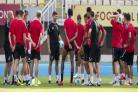 Rangers manager Steven Gerrard speaks to his players in Macedonia