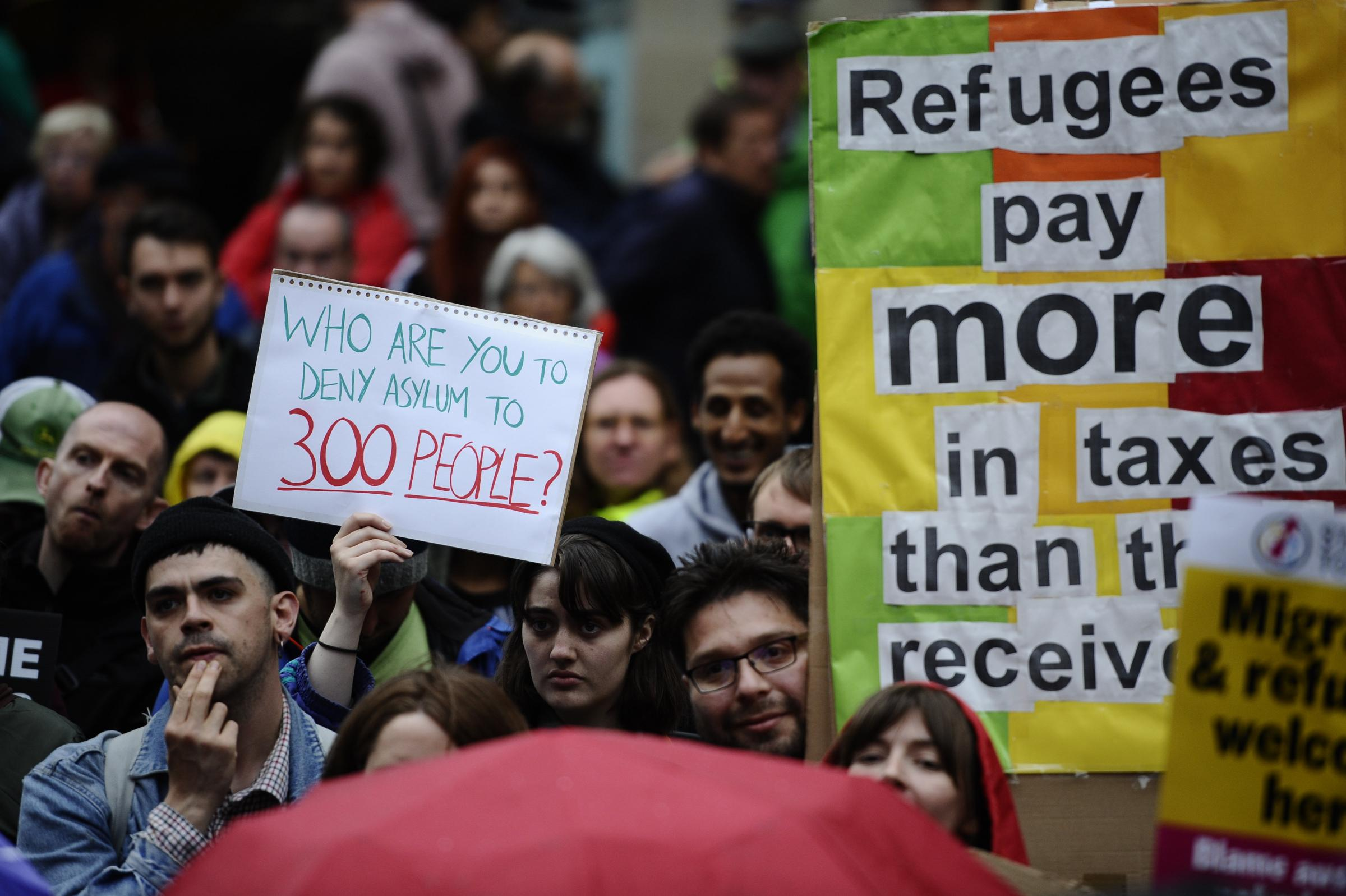 Protesters demonstrate in Glasgow City Centre against the decision by Serco to evict hundreds of asylum seekers (Jamie Simpson/Herald & Times)