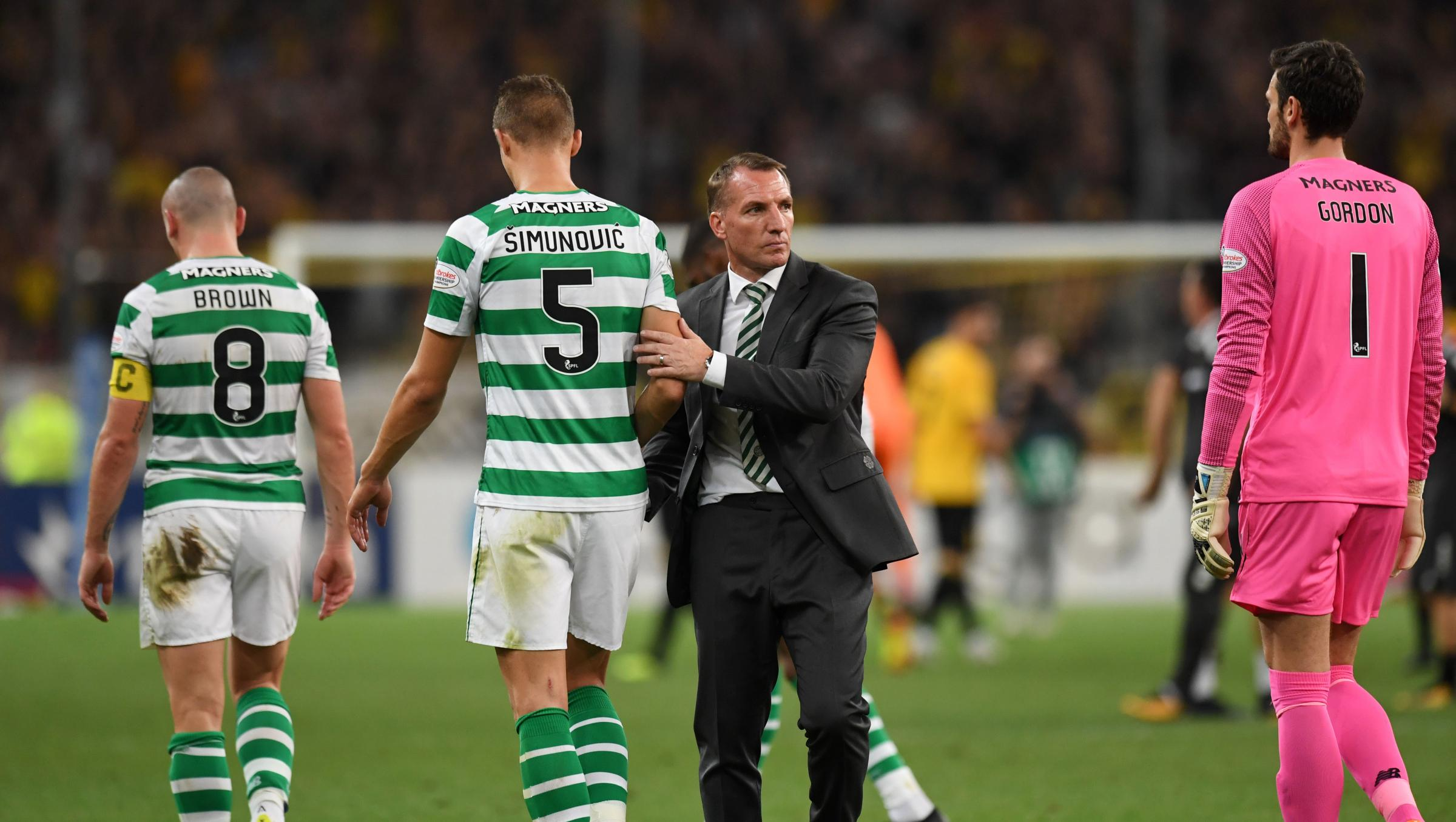 14/08/18 UEFA CHAMPIONS LEAGUE QUALIFYING THIRD ROUND QUALIFIER 2nd LEG. AEK ATHENS v CELTIC . ATHENS - GREECE. Celtic manager Brendan Rodgers at full time.