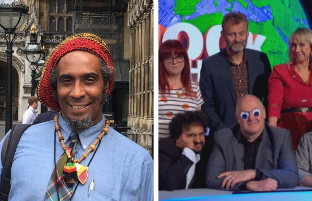 Councillor Graham Campbell (Left) Mock the Week panel (right) (Twitter)