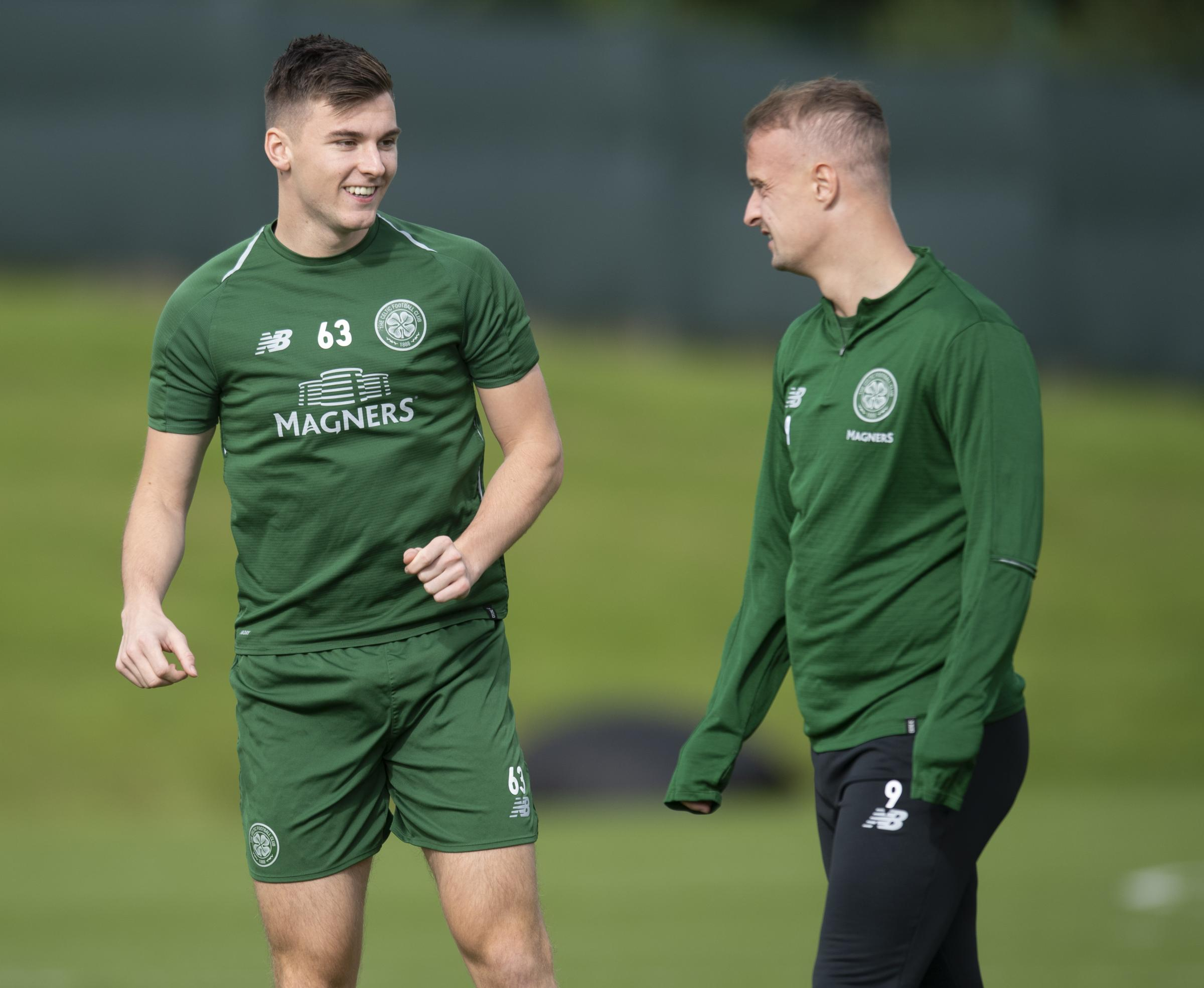 Kieran Tierney, left, and Leigh Griffiths, right, in Celtic training.