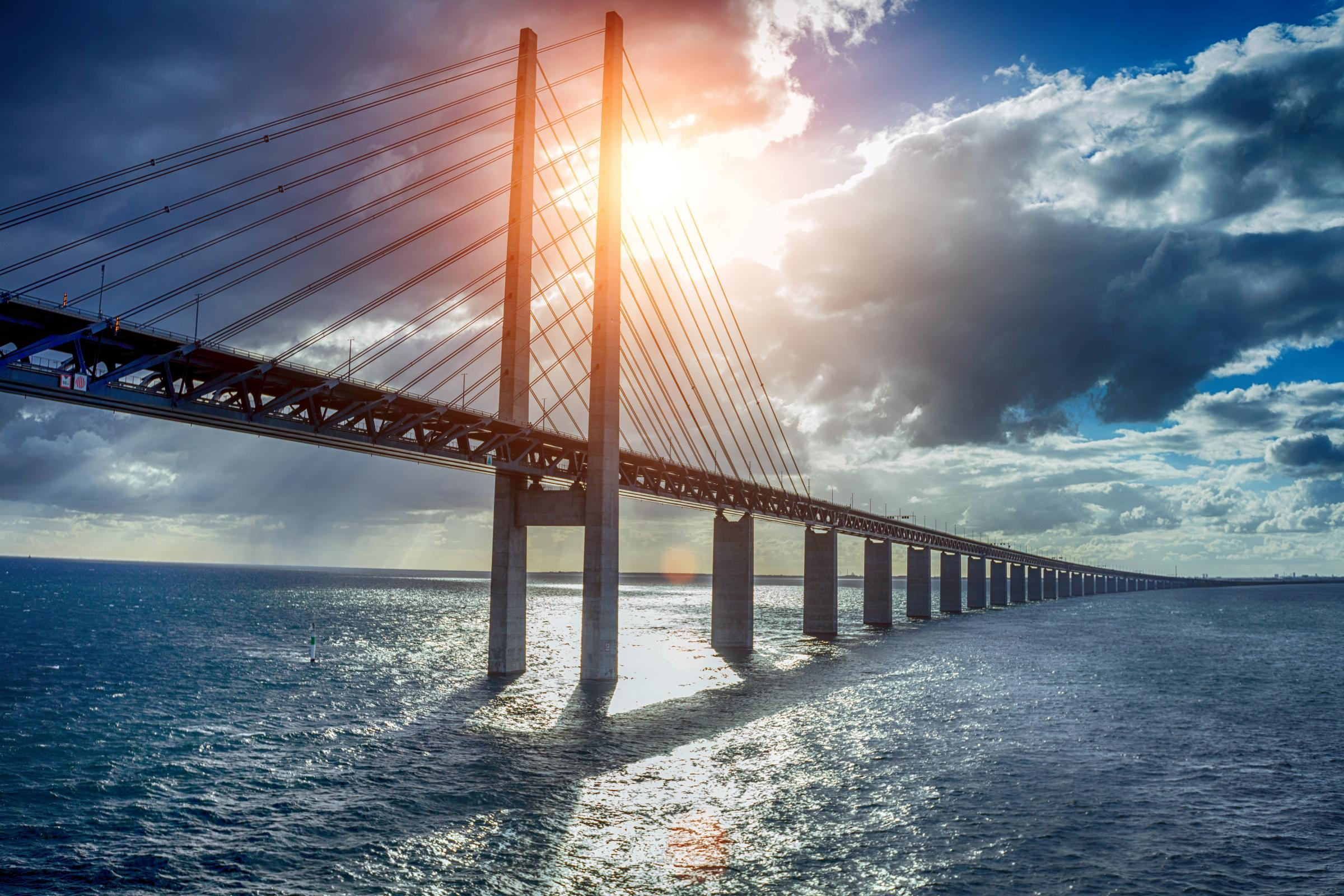 The Øresund Bridge, between Sweden and Denmark, is Europe's longest combined road and rail bridge