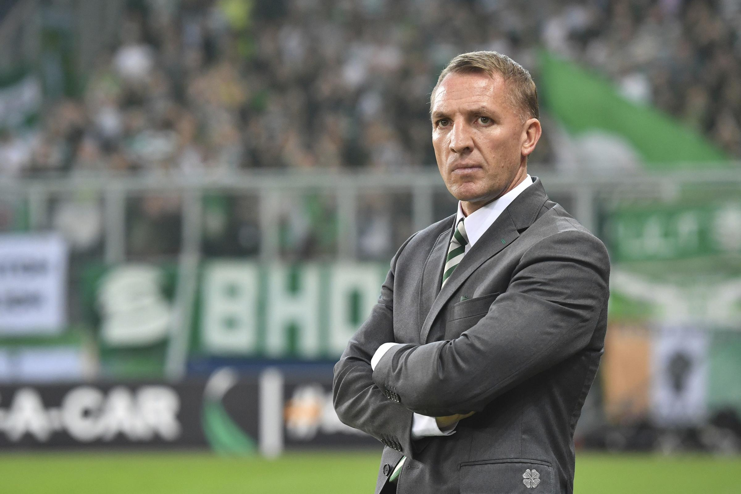 Celtic manager Brendan Rodgers looks on, during the Europa League group B soccer match between FC Salzburg and Celtic FC in the Arena in Salzburg, Austria, Thursday, Oct. 4, 2018. (AP Photo/Kerstin Joensson).