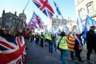 Unionist demonstrators hold a counter-protest as pro-independence supporters take part in a march organised by the All Under One Banner group through the centre of Edinburgh. PRESS ASSOCIATION Photo. Picture date: Saturday October 6, 2018. Photo credit sh