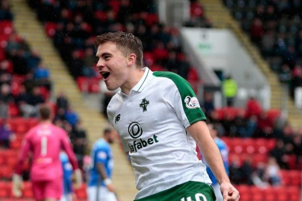 Celtic's James Forrest celebrates scoring their third goal against St Johnstone during the Ladbrokes Scottish Premiership match at McDiarmid Park, Perth. PRESS ASSOCIATION Photo. Picture date: Sunday October 7, 2018. See PA story SOCCER St Johnstone.